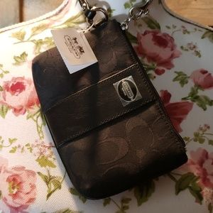 New Coach black wristlet